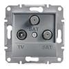 Розетка TV-SAT-SAT одинарная 1dB Сталь Schneider Asfora plus (EPH3600162)