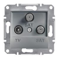 Розетка TV-SAT-SAT одинарная 1dB Сталь Schneider Asfora plus (EPH3600162), фото 1