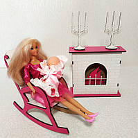 Игровой Набор: камин + кресло-качалка для кукол Барби, Братц, Монстер Хай, фото 1