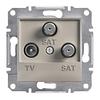 Розетка TV-SAT-SAT одинарная 1dB Бронза Schneider Asfora plus (EPH3600169)