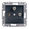 Розетка TV-SAT-SAT одинарная 1dB Антрацит Schneider Asfora plus (EPH3600171)