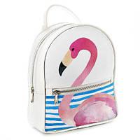Рюкзак 3D міський білий Рожевий Фламінго (фламинго)