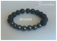 Браслет чёрный из вулканической с гематитом BD1203