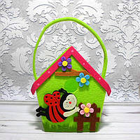 "Фетровая сумочка-корзинка ""Пчелиный домик"",  14х12х7 см"
