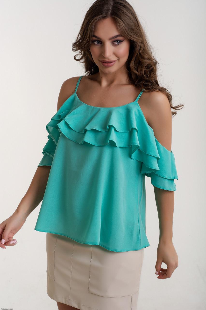 Стильная женская блуза - майка на тонких бретельках с воланами