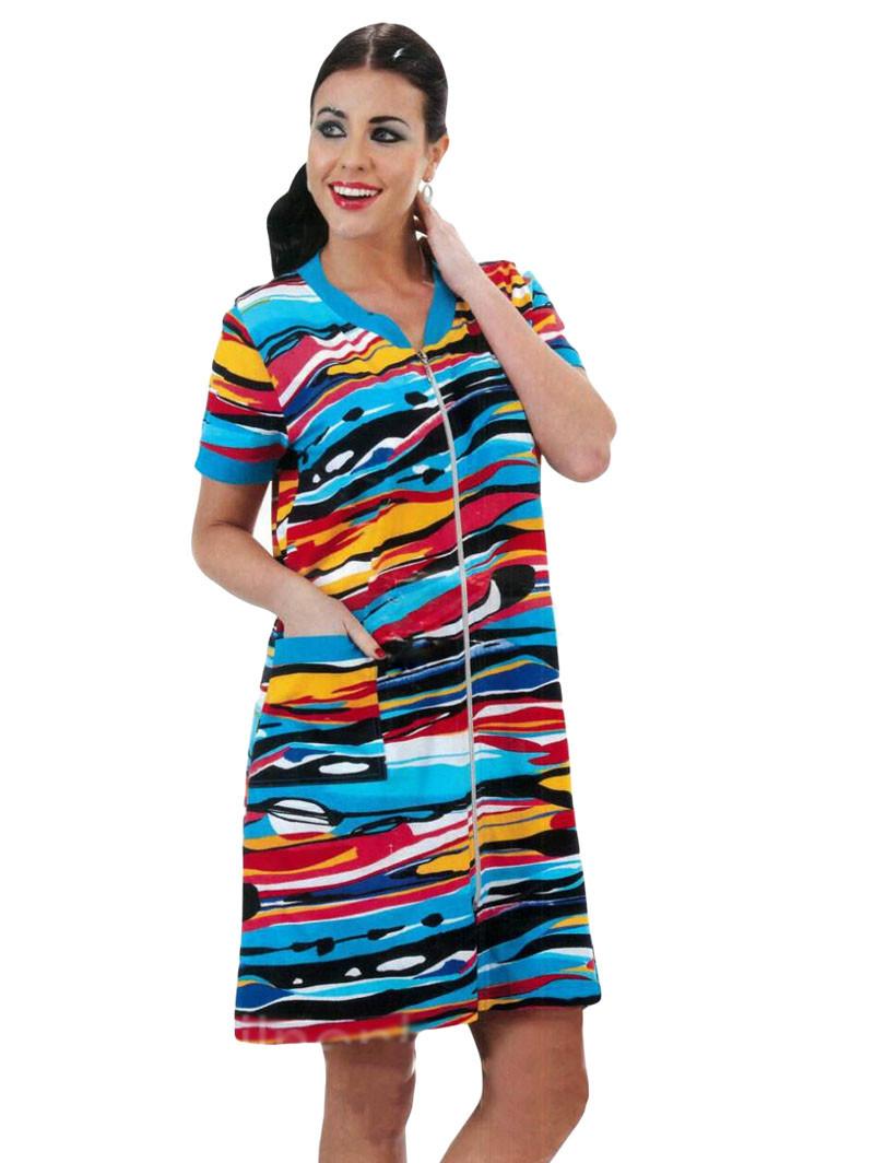 Женский трикотажный халат на молнии Intensive №3150