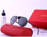 Мужские солнцезащитные очки в стиле Cartier (19979) black, фото 1