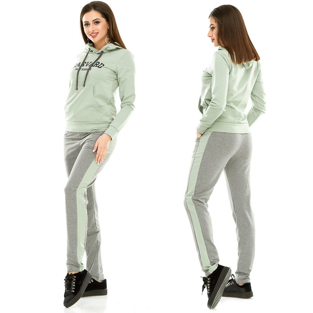 58966e6840131 Модный трикотажный спортивный костюм женский оливковый -