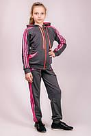 Детский трикотажный спортивный костюм для девочки Лампас (серый)