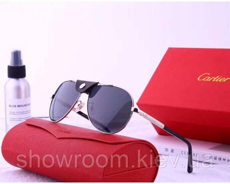 Мужские солнцезащитные очки в стиле Cartier (19979) silver