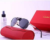 Мужские солнцезащитные очки в стиле Cartier (19979) silver, фото 1