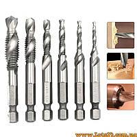 Набор 6шт - спиральное сверло-метчик HSS Drillpro DB-C4 M3/M4/M5/M6/M8/M10