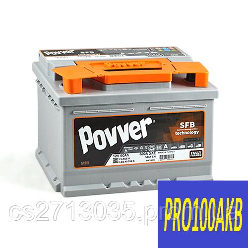 Автомобильный аккумулятор POVVER 60 Ач 600 А (0) R+