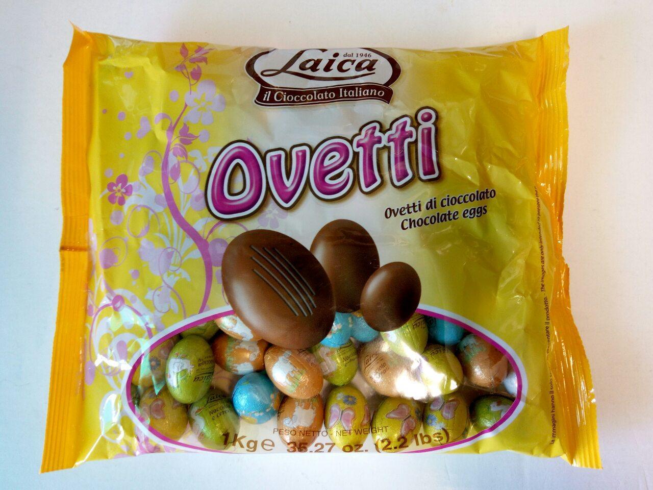 Шоколадные яйца с пралине ассорти Laica Ovetti 1 кг. Италия