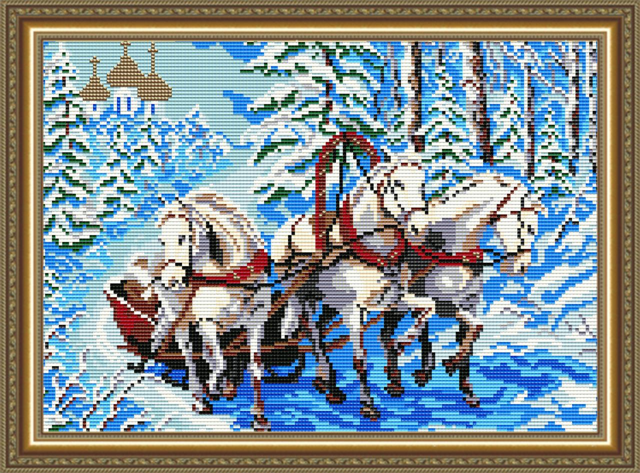 """Алмазная вышивка 410х285мм - набор """"Тройка лошадей"""""""