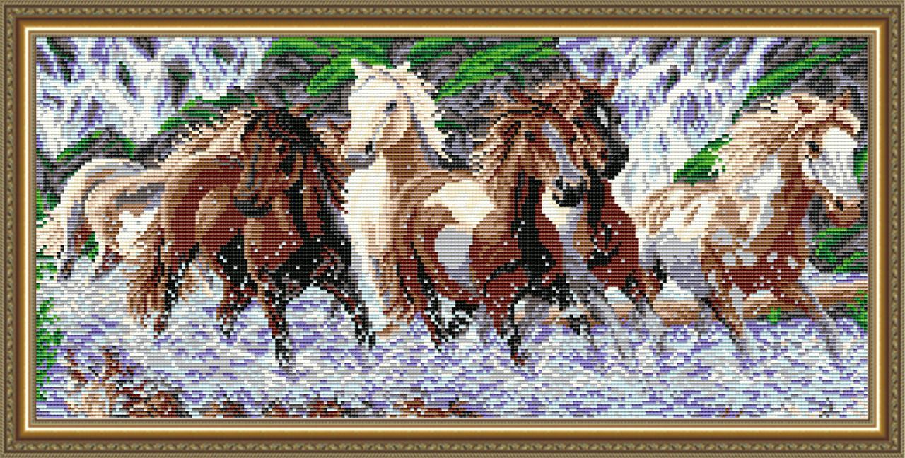 """Алмазная вышивка 605х245мм - набор """"Табун лошадей"""""""