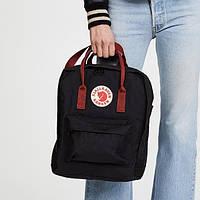 ✔️ Рюкзак Fjallraven Kanken Classic Black/Ox Red Backpack Bags - черный с бордовой ручкой