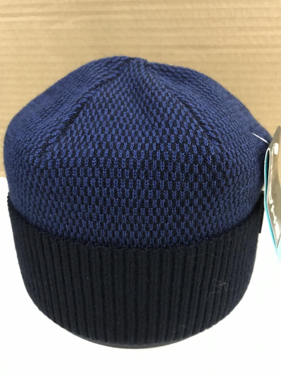 Синяя мужская классическая шапка на флисе с отворотом