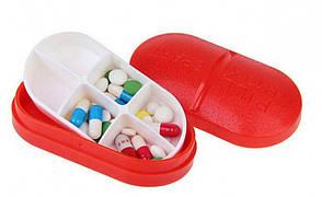 ✅ Контейнер для таблеток на 6 отделений красный