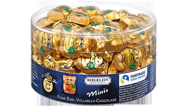 Шоколадные фигурки хрюшки Riegelein Chocolade Minis, 400 г.