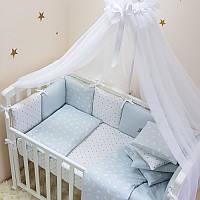 Комплект детского постельного белья Baby Design Премиум Кролики голубой (7 эл)