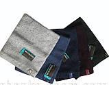Мужская однотонная шапка с отворотом  синяя и  т. серая, фото 6