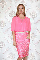Платье женское нарядное  розовое р.50-54 Yam118