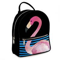 Рюкзак 3D міський чорний Фламінго в воді (фламинго)