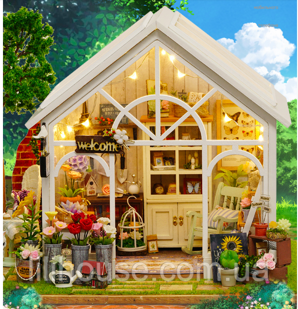 DIY RoomBox Кукольный Домик Набор-Конструктор SUNSHINE GREENHOUSE  22*19*17.5 см