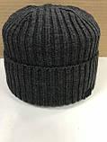 Чёрая мужская классическая шапка  с отворотом без флиса, фото 3