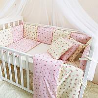 Комплект детского постельного белья Бэби дизайн премиум Прованс розовый (7 эл)