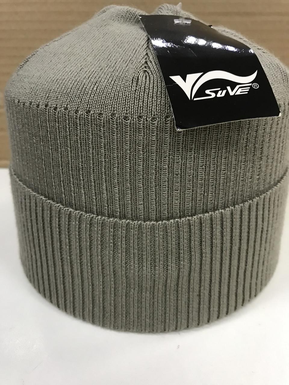 Бежевая мужская одинарная шапка с отворотом