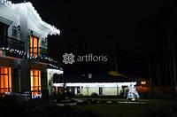 Новогодняя иллюминация фасада, украшение домов к новому году