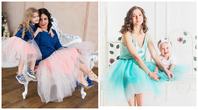 Фатиновые юбки для фотосессий мама и дочка изображение