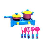 "Набор посуды ""Ева"" с плитой (синий), 8 шт  sco"