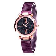 Опт Женские часы Starry Sky Watch на магнитной застёжке Фиолетовые