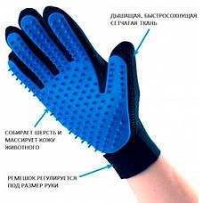 Рукавичка для вичісування шерсті тварин True Touch на праву руку, фото 3