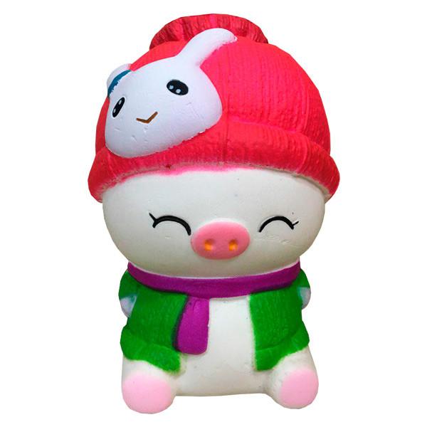 Опт Мягкая игрушка антистресс Сквиши Squishy Свинка в зеленой жилетке №59