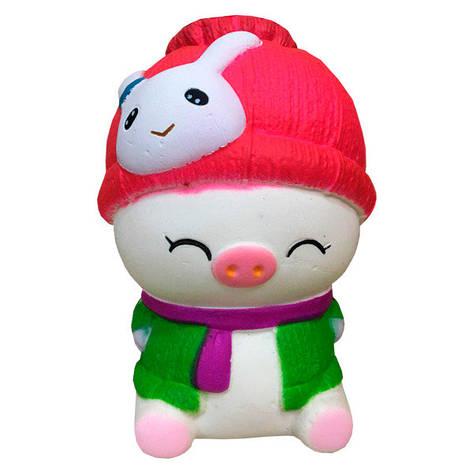 Мягкая игрушка антистресс Сквиши Squishy Свинка в зеленой жилетке №59, фото 2