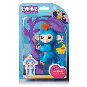 Интерактивная обезьянка Fingerlings Happy Monkey Голубая, фото 2