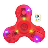Спиннер Spinner пластиковый с LED + Музыка через Bluetooth Красный №196