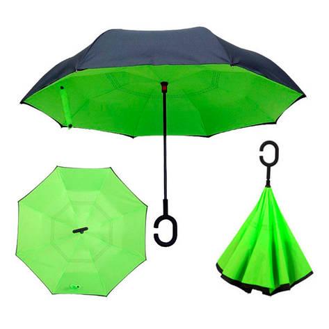 Зонт обратного сложения Up-brella Зеленый №48, фото 2