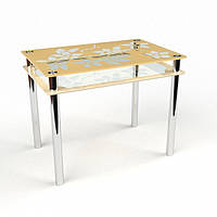 Стол стеклянный Цветы-рамка 1200