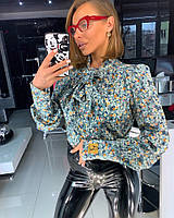 Блуза Doratti нежная шифон с бантом модный цветочный принт Bdor316, фото 1