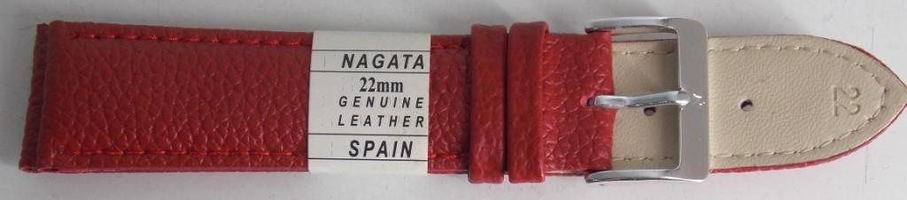 Ремешок кожаный NAGATA (ИСПАНИЯ) 22 мм, красный, змей