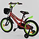 """Двухколесный велосипед красный, ручной тормозом, корзинка, доп., колеса, звоночек Corso 16"""" детям 4-6 лет, фото 2"""