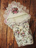 Конверт на выписку Маленькая Леди с вышивкой и мягким кружевом