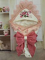 Конверт на выписку   для новорожденных Леди с вышивкой и мягким кружевом