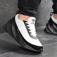Мужские кроссовки новинка Адидас 7611 Белые с чёрным в точечку заказать в интернет магазине , фото 1