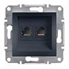 Розетка компьютерная двойная RJ45 категория 5E UTP Антрацит Schneider Asfora plus (EPH4400171)